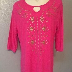 Womens JMS HOT PINK/METALLIC GOLD TOP Plus Sz